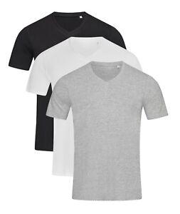 Mens-Plain-BLACK-GREY-or-WHITE-Cotton-Deep-Low-Vee-V-Neck-Tee-T-Shirt-T-Shirt