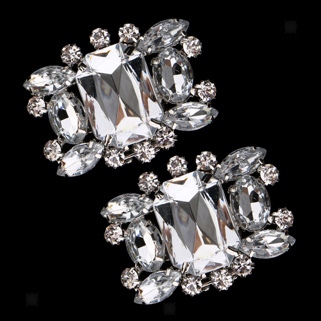 Pack of 2 Bridal Rhinestone Crystal Silver Vintage Style Wedding Shoe Clips