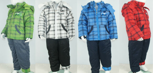 2teiliger Schneeanzug Skianzug Latzhose+Jacke kariert Jungen 92 98 104 110 116