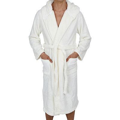 Coral Fleece Men/'s Hooded Robe Super Soft White