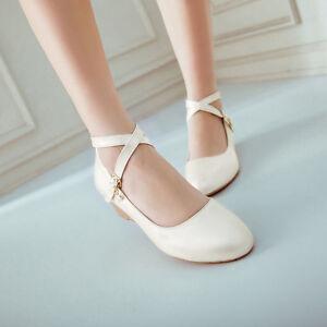 New-Womens-Girls-Low-Wedge-Heel-Cross-Strap-Pumps-Shoes-Wedding-Sweet-Plus-Size