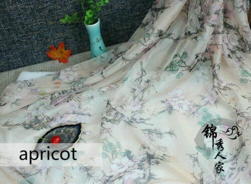 Floral Matériau Mousseline Imprimé Vintage Robe Jupe Vêtement Écharpe