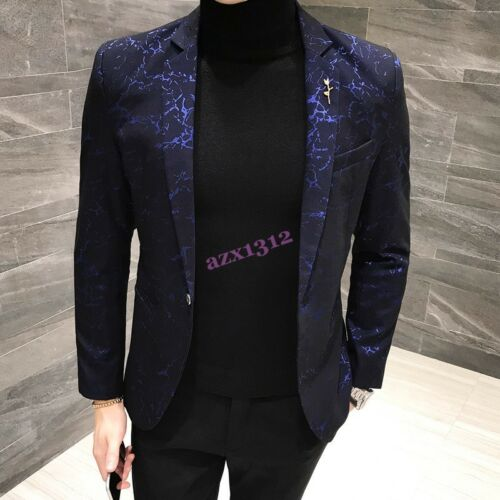 Mens Blazers One Button Lapel British Floral Business Casual Dress Formal Club