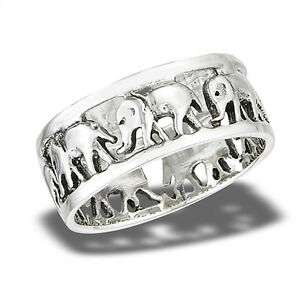 Marching-Herd-Elephants-Animal-Eternity-Ring-925-Sterling-Silver-Band-Sizes-6-10
