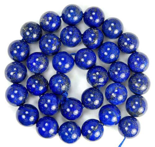 """Nuevos 12 Mm Natural Indigo Lapis Lazuli redonda granos de 15,5 /""""Aaa Yl"""