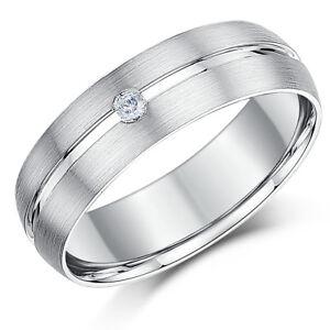 9-Ct-Anillo-De-Boda-Oro-Blanco-Diamante-Banda-Mate-Y-Pulido-6mm