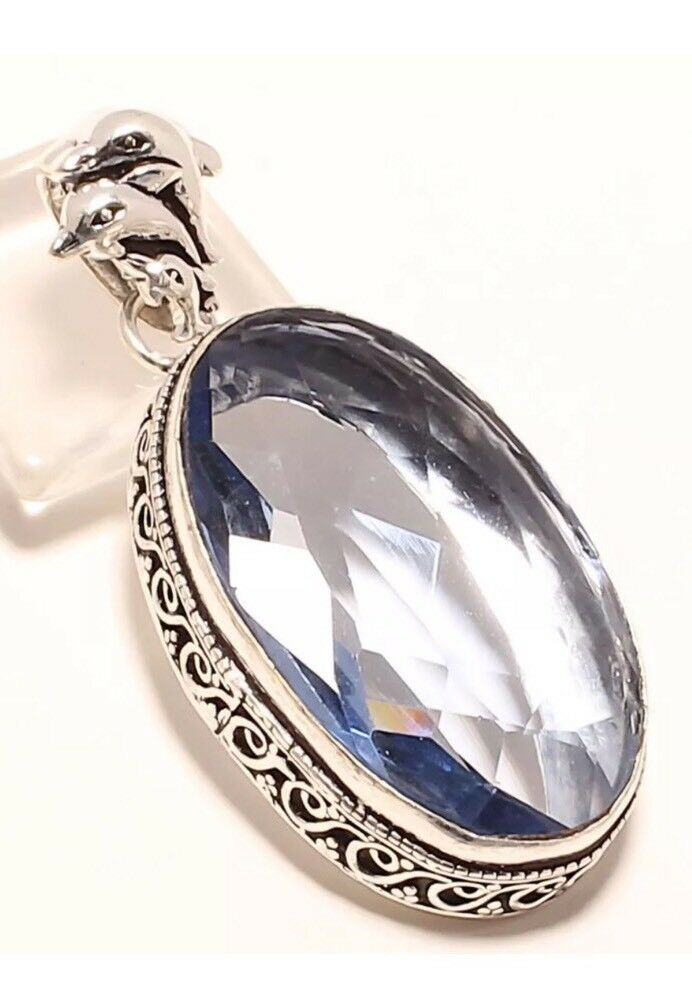 ️TANZANITE QUARTZ STERLING 925 DOLPHIN GEMSTONE HANDMADE PENDANT
