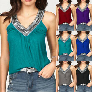 e600f1a4c2cad9 UK Womens Summer Vest Top Sleeveless Blouse Ladies Casual Tank Tops ...