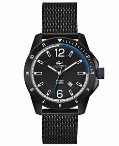Lacoste-Durban-Black-Dial-Black-Ion-plated-Mesh-Men-039-s-Watch-2010735
