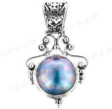 """1 5/8"""" LUSTEROUS BLUE MABE PEARL 925 STERLING SILVER pendant"""
