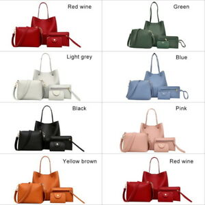 4pcs-Set-Women-Ladies-Leather-Handbag-Shoulder-Bags-Tote-Purse-Messenger-Satchel