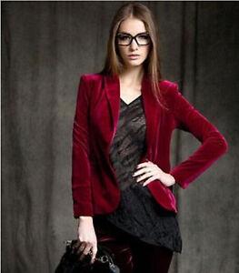 Fashion Women Short OL Jacket Gold Velvet Slim Fit Blazer Blouses Skinny Coats