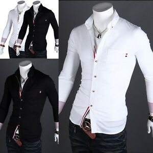 new mens stylish long sleeve luxury casual dress shirts