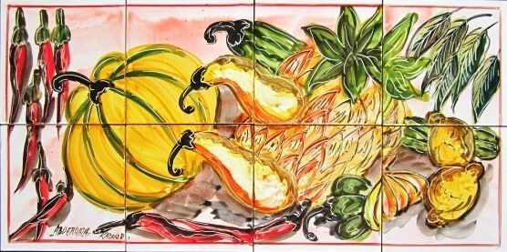 DECORATIVE CERAMIC TILES: MOSAIC PANEL HAND PAINTED KITCHEN WALL ART 24in x 12in