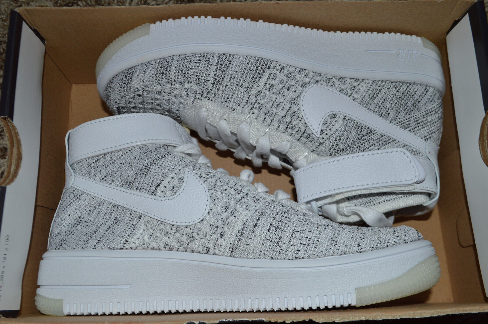 New Nike Womens AF1 Air Force 1 Flyknit Athletic Shoes 818018-101 sz 9 White