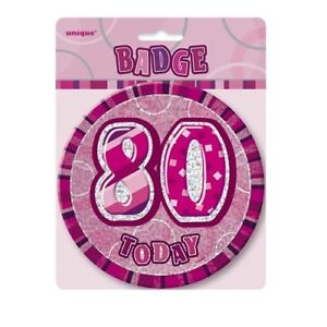 Pink-Glitz-80-Today-6-034-Giant-80th-Birthday-Badge-Party-Badges-Decorations