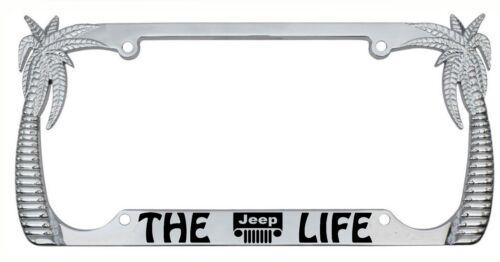 The JEEP Life Palm Tree Design Chrome//Black Metal Auto License Plate Frame