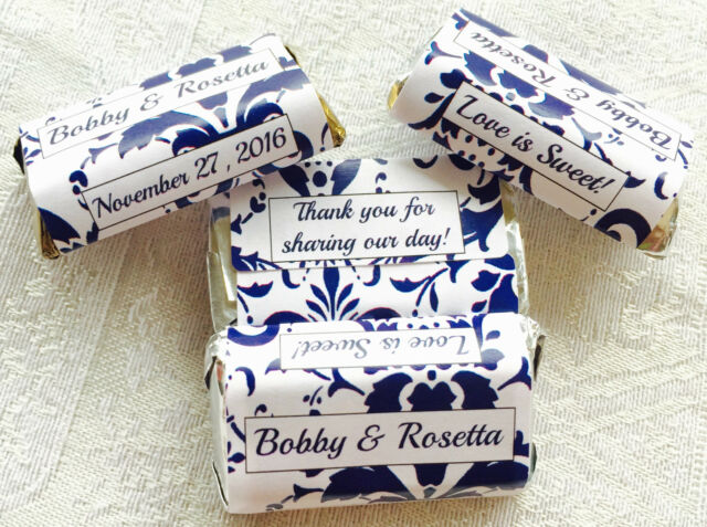 180 Navy Blue Damask Wedding Candy Wrers Stickers Favors 4 Hershey Miniatures