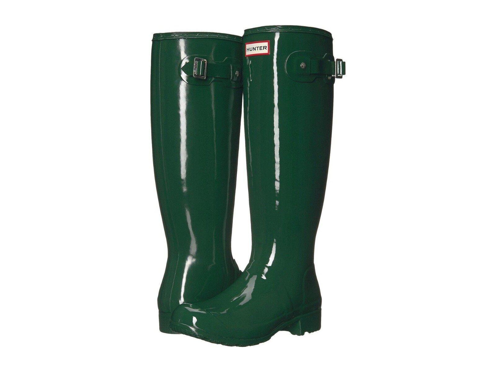 Hunter Women's Original Tour Gloss Hunter Green Tall Rubber Rain Boot NEW Size 9