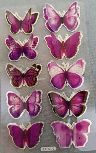 Nouveau Superbe Papillon Autocollants Craft Autocollants Paillettes Edged Rainbow Noir Gris