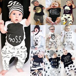 Neonato-Bambino-Bambini-Ragazzi-Ragazze-Casual-Maglie-Magliette-Pantaloni-Lunghi