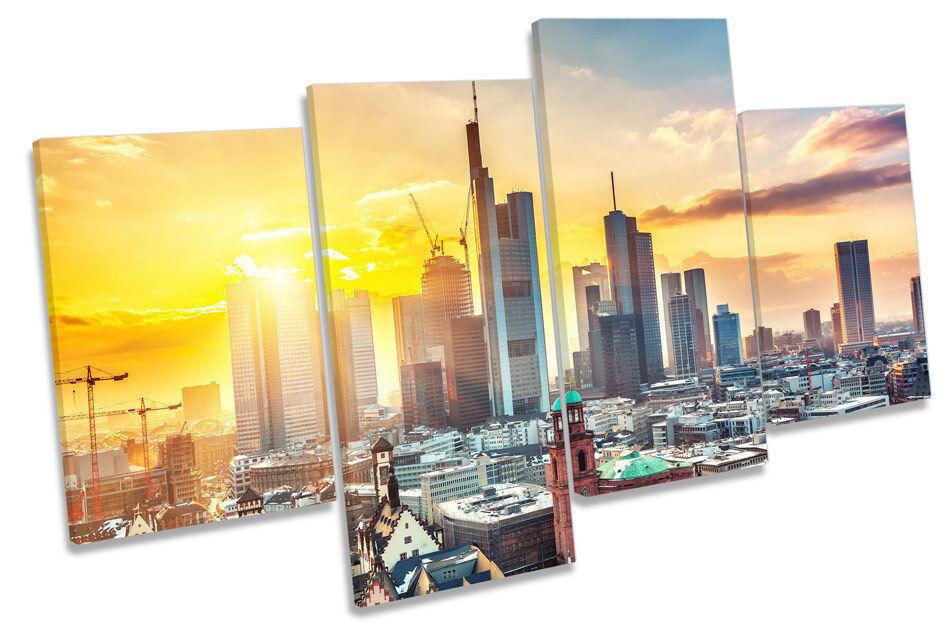 Francoforte GERMANIA tramonto città città città Multi Canvas WALL ART PICTURE PRINT 052911