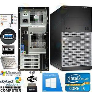 Fast-Windows-10-DELL-3010-Core-i5-8GB-Wi-fi-SSD-USB-3-Tower-PC-OFFICE-2016-HDMI