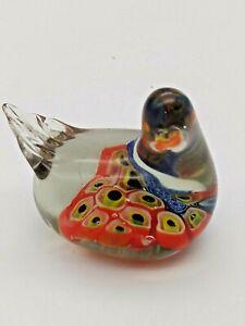 ART-GLASS-BIRD-FIGURINE-MOTTLED-MUTIL-COLORED-BLOWN-PAPERWEIGHT