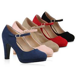 Damen Pumps Mary Janes Blockabsatz High Heels T-Strap 814325 Schuhe