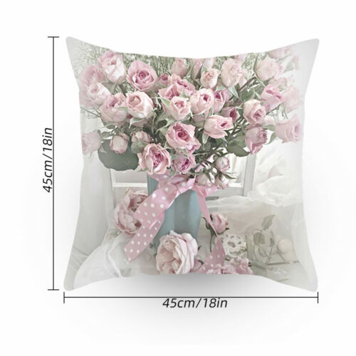 Rose Flower Throw Pillowcase Natural Print Pillow Case Decor Cushion Cover UK