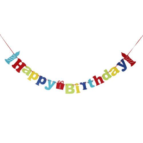 Kerze Muster Happy Birthday Filz Wimpelkette Geburtstag Party Deko