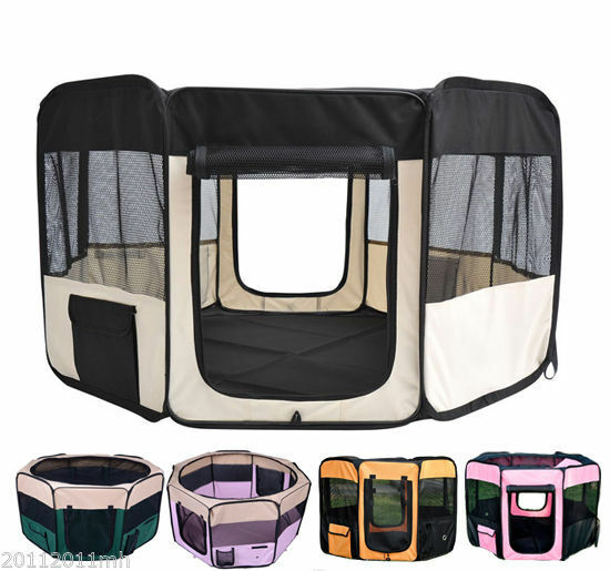Folding Pet Playpen Exercise Pen Kennel Easy Storage 6 Options