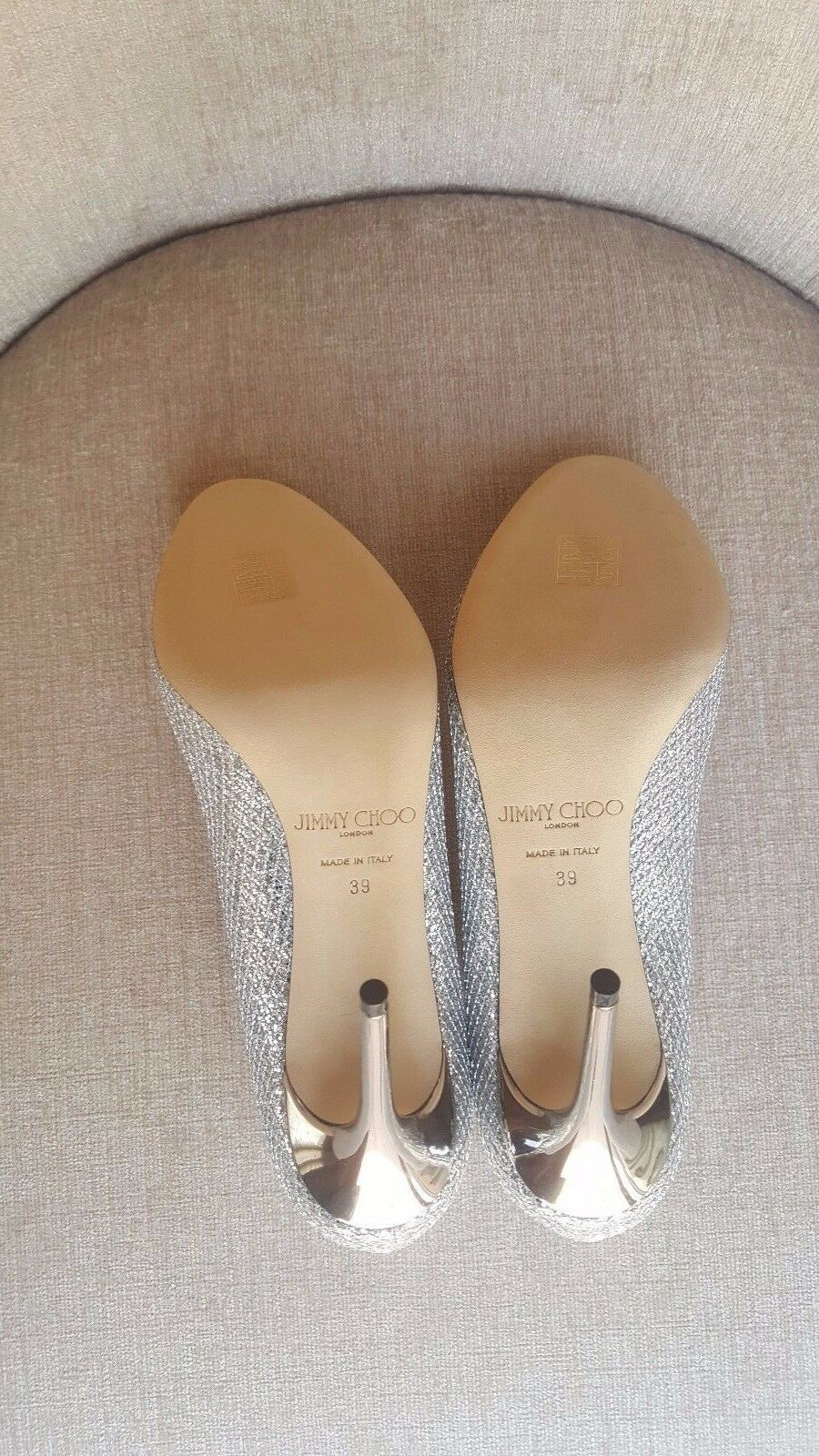 NIB Jimmy Choo Silber Leather 'Esme 'Esme 'Esme 100' Pumps Größe 9   39 Auth  675 dc361f
