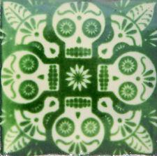 "Handmade Mexican Tile Sample  Talavera Clay 4/"" x 4/"" Tile C015"