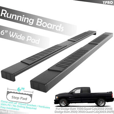 2002 2008 Dodge Ram Quad Cab Black Side Steps Running Boards Nerf Bars