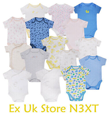 100/% Cotton 3 Pack Baby Vests Baby Bodysuits with Short Sleeves Popper Fastening UK Brand