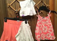 Girls Spring Lot Size 7/8 Piper Of Clothes Peach With White Eyelet Skirt 4 Piece