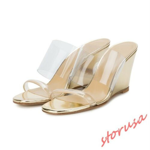 Womens Transparent Wedge Heels Slippers Shoes Open Toe Summer Sandals Mules Size