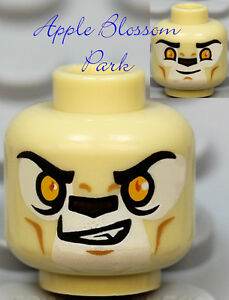 NEW-Lego-TAN-MINIFIG-HEAD-Chima-Lion-Laval-w-White-Alien-Monster-Fang-Tooth