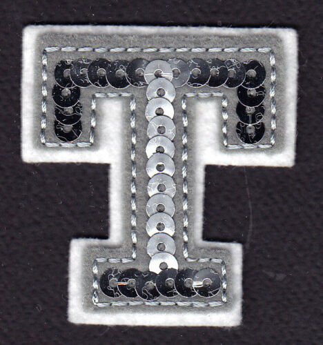 """Letters Iron On Embroidered Applique Silver  Sequin  2/"""" Letter /""""T/"""""""