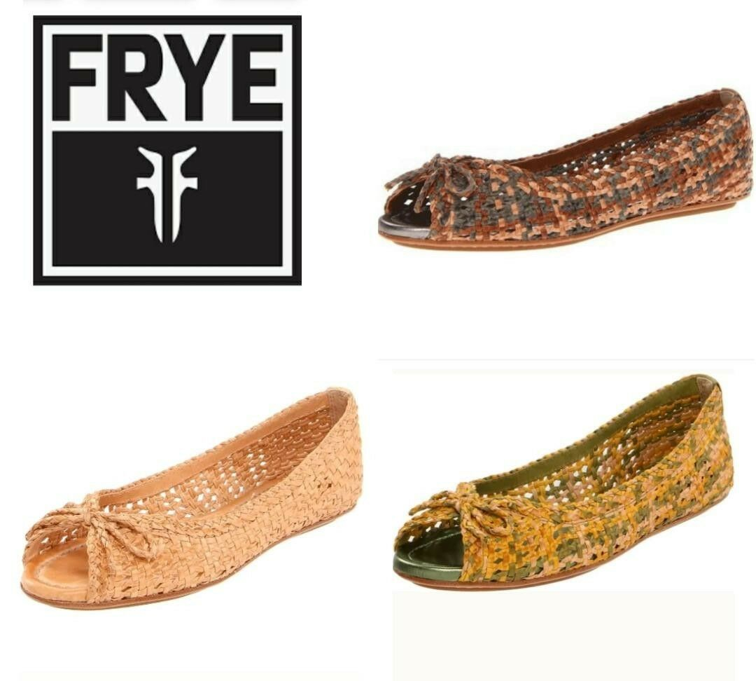 198 FRYE Multi Brown Tan Leather Woven Peep Toe Ballerina Flats shoes M3020
