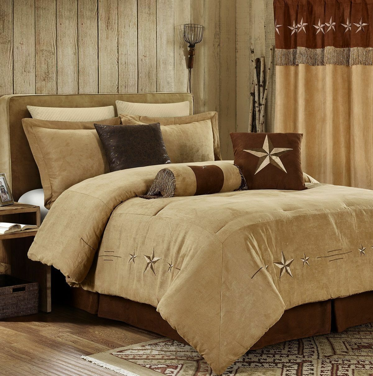 Traditional Texas Lone Star Synthetic Suede Comforter Cal King Queen 7 pcs Set