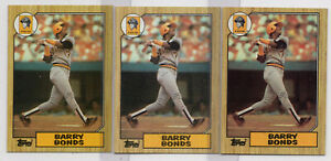 1987 Topps (3)Card Lot #320 Barry Bonds RC ROOKIE EX-EXMINT+ Pittsburgh Pirates