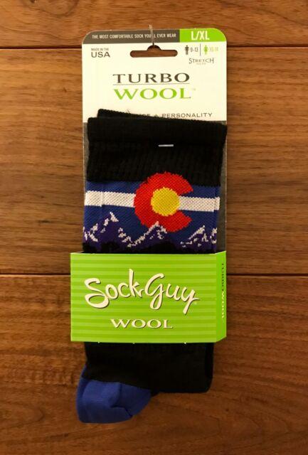 SockGuy Wool Crew 6in Colorado MTN Cycling//Running Socks