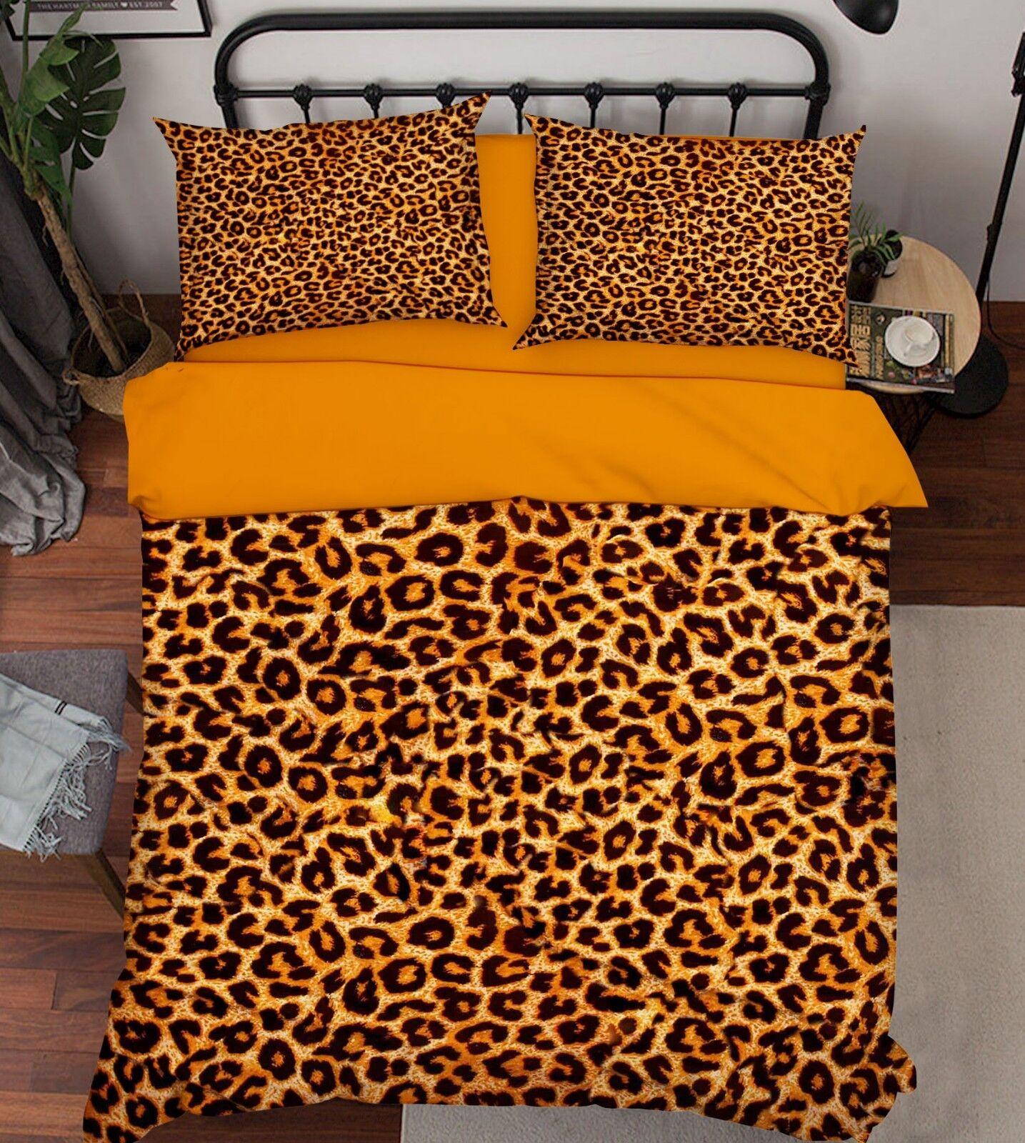 3D golden Leopard 52 Bed Pillowcases Quilt Duvet Cover Set Single Queen AU Carly