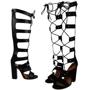 Womens Black High Block Heel Caged Knee High Lace Up Gladiator ...