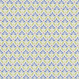 Blue-and-Green-Floret-on-White-Quilting-Fabric-FQ-or-Metre-New
