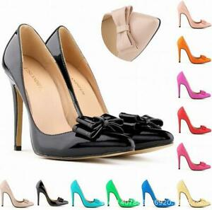 Ladies-Stiletto-High-Heel-Bowknot-Decor-Pointed-Toe-Slip-on-Sexy-Party-Club-Pump