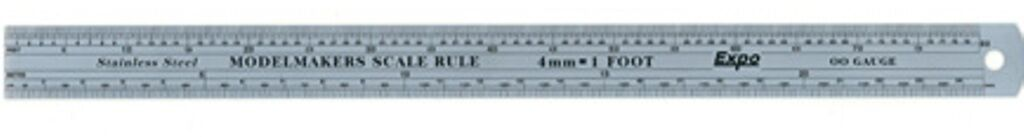 MODELMAKERS SCALE RULE O GAUGE 7mm = 1 FOOT STAINLESS STEEL EXPO 74107