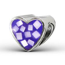 Purple Shell Crystal Love Heart Sterling Silver European Charm Bead